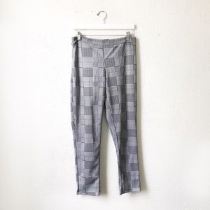 Pants - Black & White Checkered Cross Hatch Trousers Large